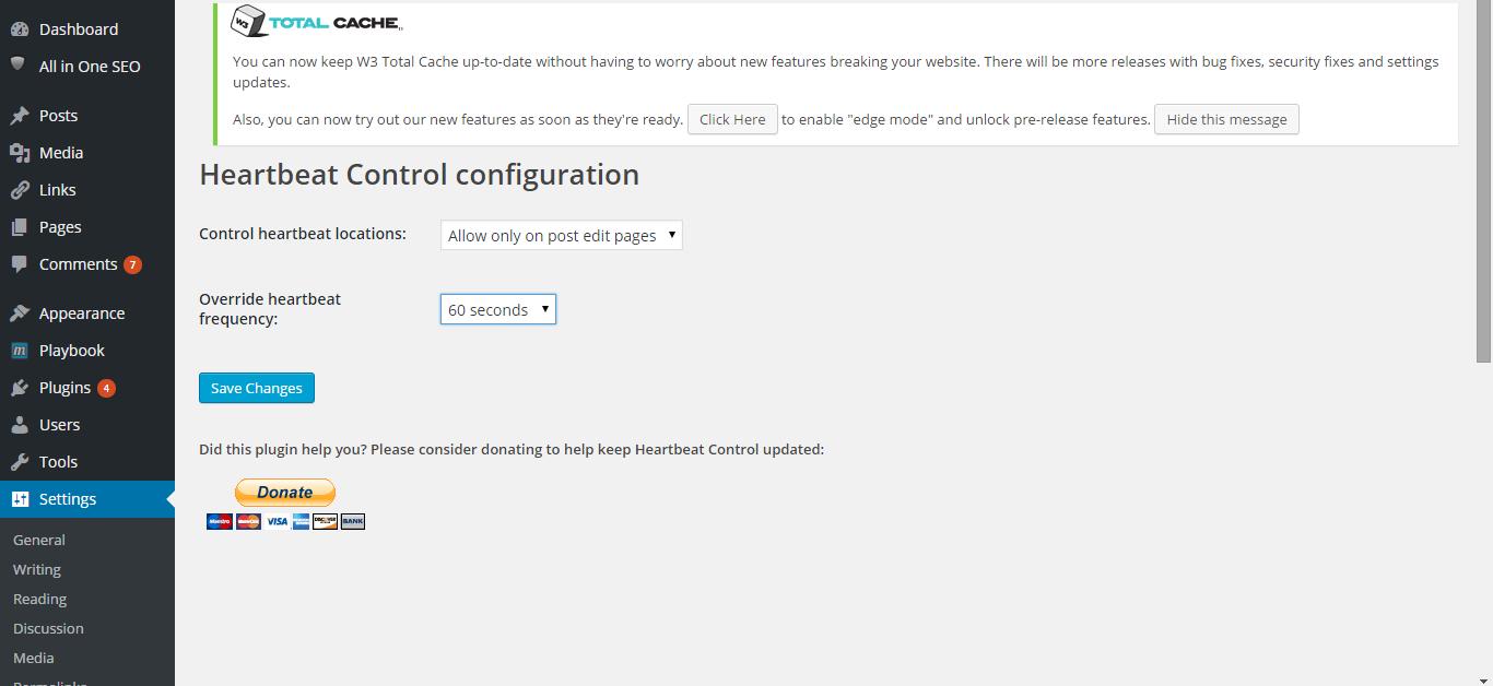 Solve WordPress API Resource Usage Problem with Heartbeat Control Plugin